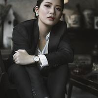 Beautiful business Woman in black suit