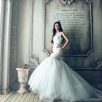 Beautiful Lady in a white wedding dress