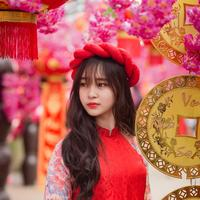 Beautiful young Vietnamese Girl in Red Dress