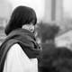 cute-asian-girl-in-white-shirt-and-black-scarf-black-and-white