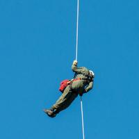 Firefighters Sliding down ropes