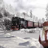 Young Girl in snow and train