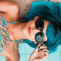 Girl with Blue Hair and Sunglasses