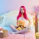 girl-with-pink-hair-and-teddy-bear