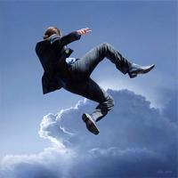 Man jumping into the clouds