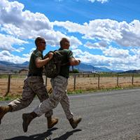 Marines Running under the sky and clouds
