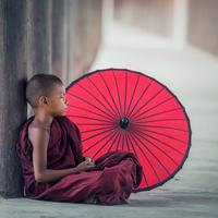 Monk Boy with Big Umbrella