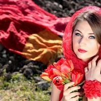 Pretty girl in red scarf