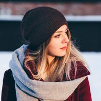 Teenage Girl in scarf, hat, and winter clothes