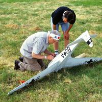 Two men fixing a ME 323 Glider