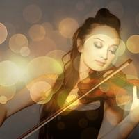 Violin Player with light sparkles