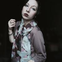Woman dress in fashionable flower scarf