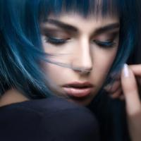 Woman's Face Portrait with blue hairstyle