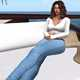 Woman in white shirt and jeans relaxing by the seaside