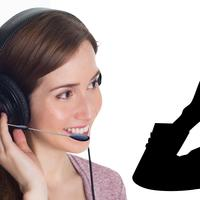 Woman wearing a microphone at the call center