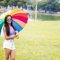 Woman with a Colorful Umbrella