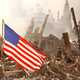 World trade Center Ruins with American Flag