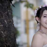 Young Asian Girl in wedding dress