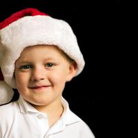 Young Child in Christmas Santa Hat