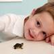Young Child with small turtle on desk