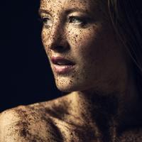 Young Women Face Portrait covered in dirt