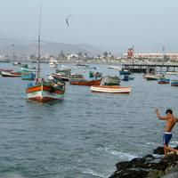 Ancon Harbor with Boats on the water in Peru