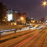 Night Time Cityscape with lights and highway in Lima, Peru