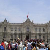 Photo of the Peruvian Palace during the Changing of the Guard in Lima, Peru