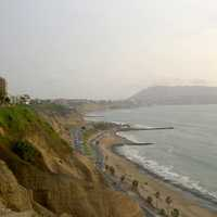 Shoreline Landscape and Road in Lima, Peru