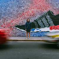 Wall Art and time-lapse of cars in Lima, Peru