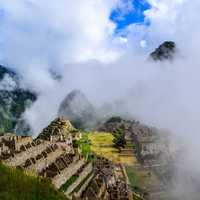 Ancient Ruins of Machu Picchu in Peru in the Clouds