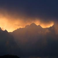 Sunset and Dusk over the Mountains in Machu Picchu, Peru