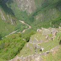 Terrace Steps and River Gorge in Machu Picchu, Peru