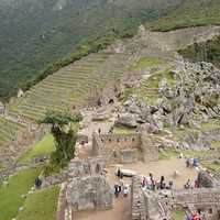 Tourists visiting the Ruins of Machu Picchu, Peru