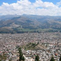 Cityscape and Mountains in Cajamarca, Peru