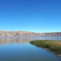 Lake Titicaca landscape with blue