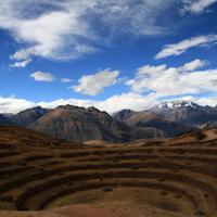Landscape under clouds and sky in Peru