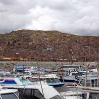 Puno cityscape and marina on Lake Titicaca in Peru