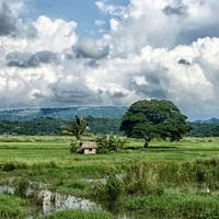 Hut and Stream in the landscape with clouds behind in the Philippines