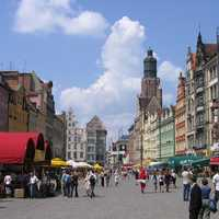 Buildings, street, and people in Wrocław
