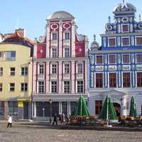 Façades in the rebuilt old town in Szczecin