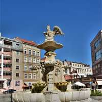 The fountain of the White Eagle in Szczecin, Poland