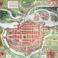 Map of the city from 1562 in Wroclaw, Poland