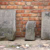 Remains of Jewish tombstones in Konin, Poland