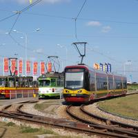 Trams in Łódź on the tracks