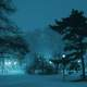Blue colored Snowy Night in Warsaw