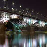 Bridge with lights at night in Warsaw