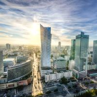 Bright sun over the city of Warsaw, Poland