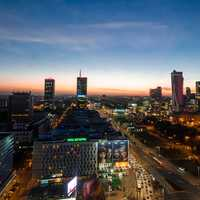 Lights of Warsaw at Dusk