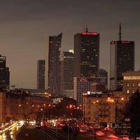 Night Skyline and Cityscape of Warsaw